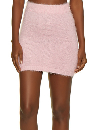 Eyelash Knit Pencil Skirt,PINK,large