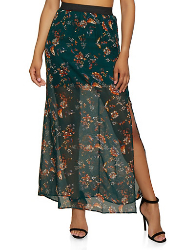 Floral Maxi Skirt,HUNTER,large