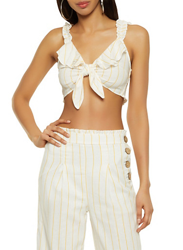 Tie Front Striped Crop Top | 3413069392891,WHITE,large