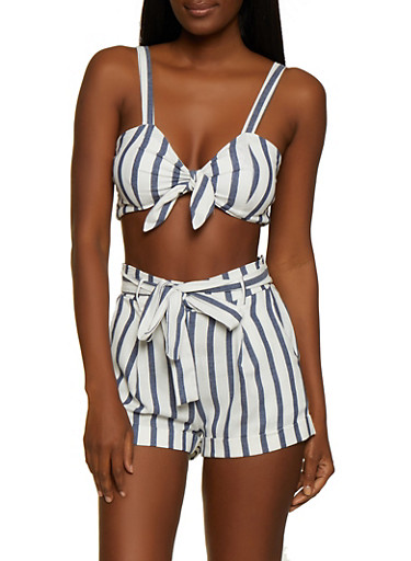 Smocked Back Striped Tie Front Crop Top,NAVY,large