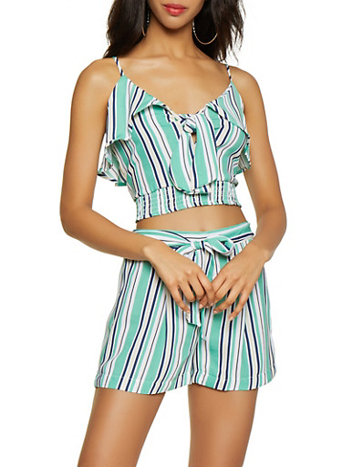 Striped Tie Front Crop Top | 3413069393331,GREEN,large