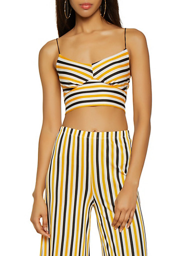 Striped Cami Crop Top,YELLOW,large