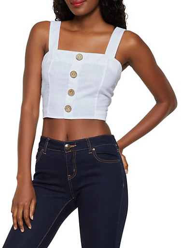 Tie Back Linen Crop Top,IVORY,large
