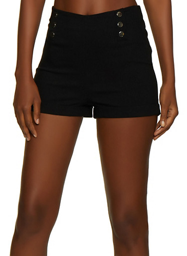 Metallic Button Stretch Shorts,BLACK,large