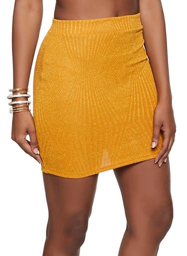 Lurex Mini Pencil Skirt,MUSTARD,large