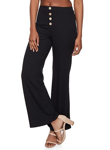 Rib Knit Wide Leg Pants,BLACK,large