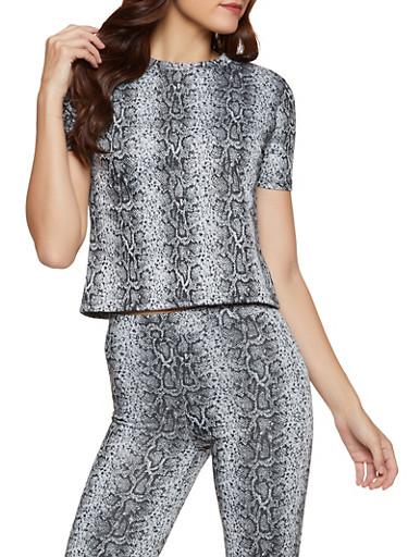 Snake Print Short Sleeve Top,BLACK,large