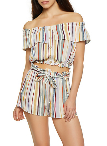 Striped Off the Shoulder Button Front Crop Top,RUST,large
