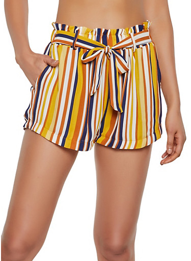Striped Tie Front Shorts | 3413069395381,MUSTARD,large