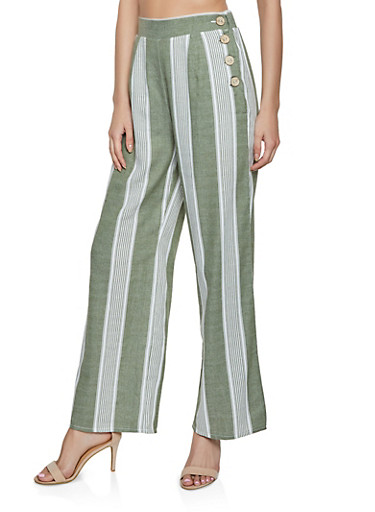 Button Side Striped Palazzo Pants,OLIVE,large