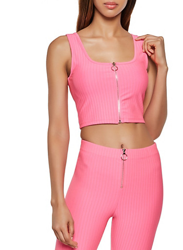 Zip Front Ribbed Knit Crop Top,NEON PINK,large
