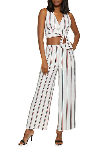 Striped Faux Wrap Tie Front Crop Top,IVORY,large