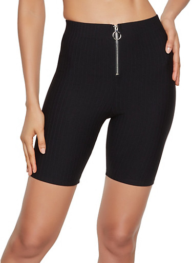 Zip Front Ribbed Knit Bike Shorts,BLACK,large
