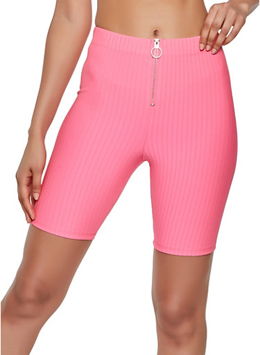 Zip Front Ribbed Knit Bike Shorts,NEON PINK,large