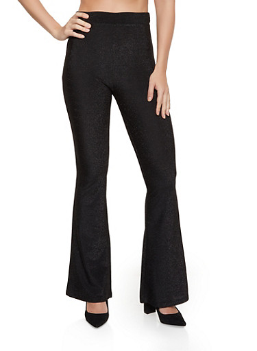 Lurex Flared Pants,BLACK,large