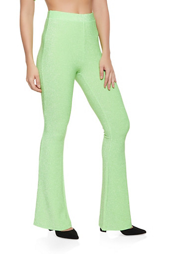 Lurex Flared Pants,NEON LIME,large