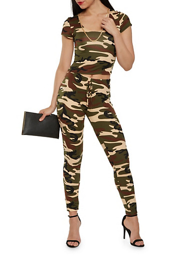 Camo Crop Top and Leggings Set | Tuggl