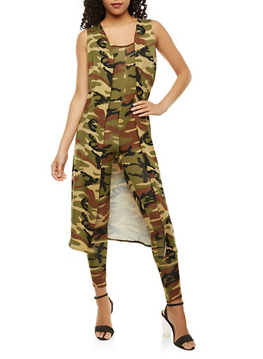 Camo Duster and Catsuit Set,BROWN,large