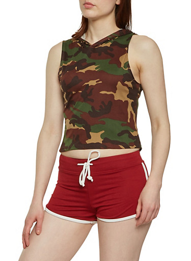 Hooded Camo Top,OLIVE,large