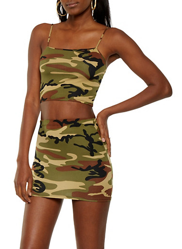 Camo Crop Top and Skirt Set,COPPER,large