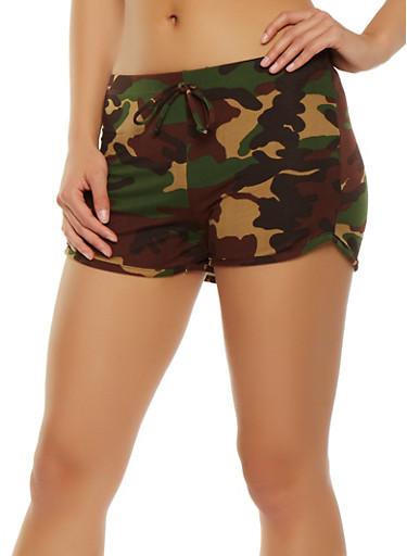 Camo Shorts,OLIVE,large