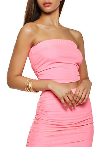 Ruched Mesh Tube Top,NEON PINK,large