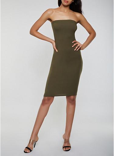 Soft Knit Midi Tube Dress,OLIVE,large
