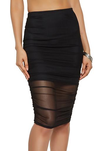 Ruched Mesh Pencil Skirt,BLACK,large