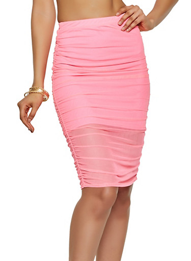Ruched Mesh Pencil Skirt,NEON PINK,large