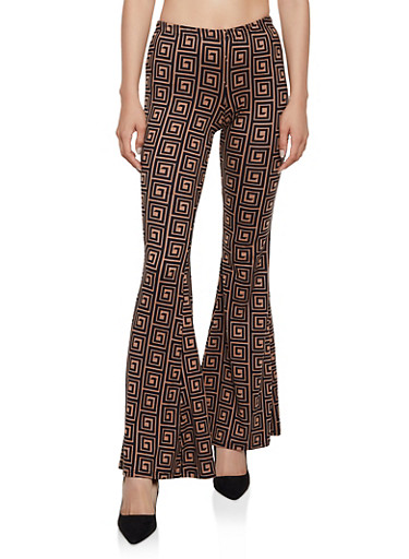 Geometric Flared Pants,BROWN,large