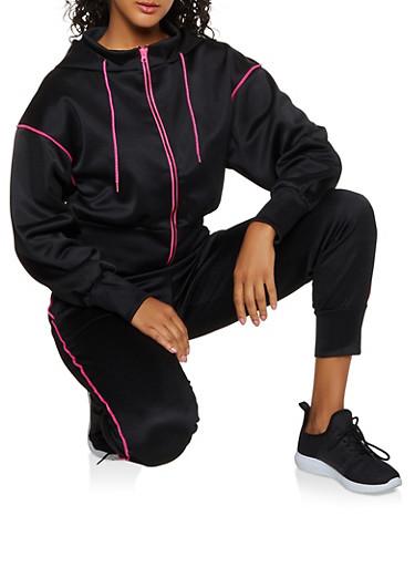 Contrast Trim Mesh Zip Sweatshirt,BLACK,large