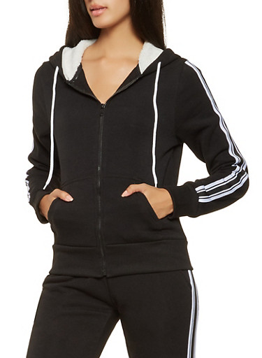 Striped Tape Sleeve Sweatshirt,BLACK,large
