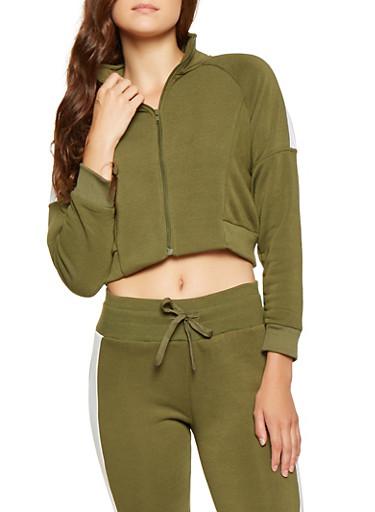 Cropped Color Block Sweatshirt,OLIVE,large