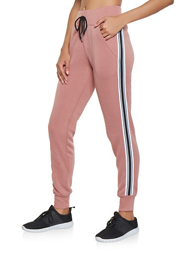 Side Stripe Tape Sweatpants,MAUVE,large