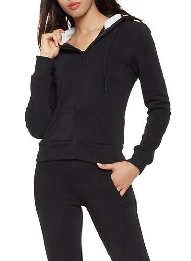 Sherpa Lined Hood Zip Up Sweatshirt,BLACK,large