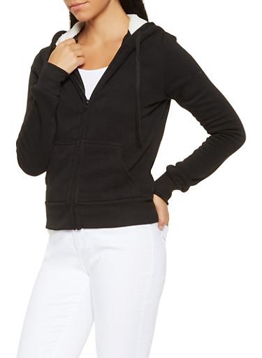 Sherpa Lined Hooded Sweatshirt,BLACK,large