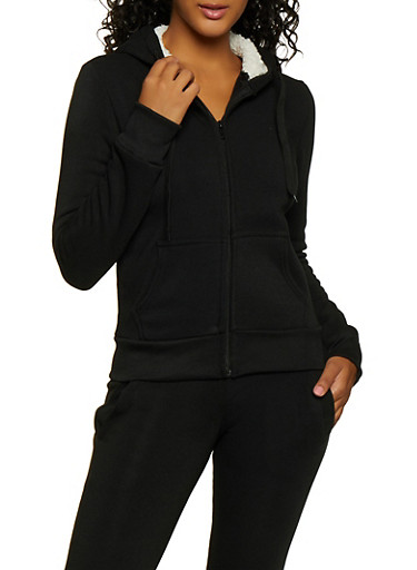 Fleece Zip Sweatshirt,BLACK,large