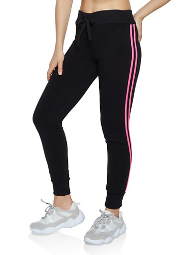 Varsity Stripe Fleece Lined Sweatpants,BLACK,large