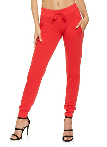 Fleece Lined Joggers,RED,large