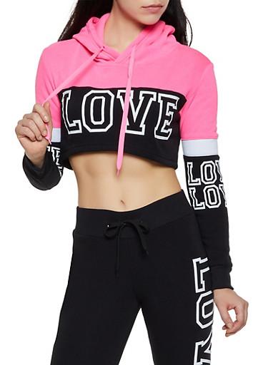 Love Cropped Sweatshirt,BLACK,large