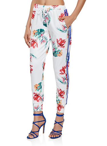Floral Print Joggers,WHITE,large