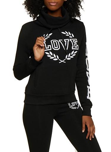 Love Velvet Graphic Funnel Neck Sweatshirt,BLACK,large