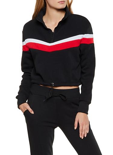 Half Zip Pullover Sweatshirt,BLACK,large