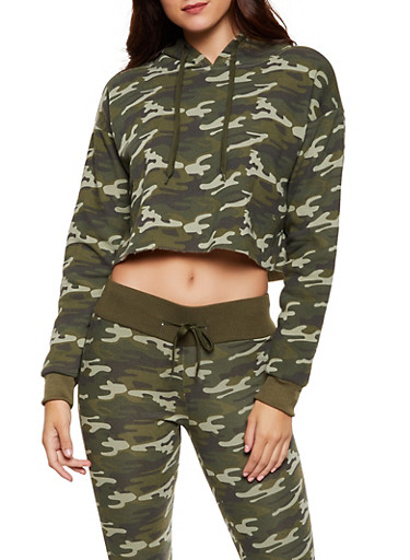 Camo Cropped Hooded Sweatshirt,GREEN,large