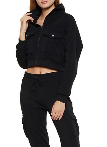 Cargo Zip Sweatshirt,BLACK,large