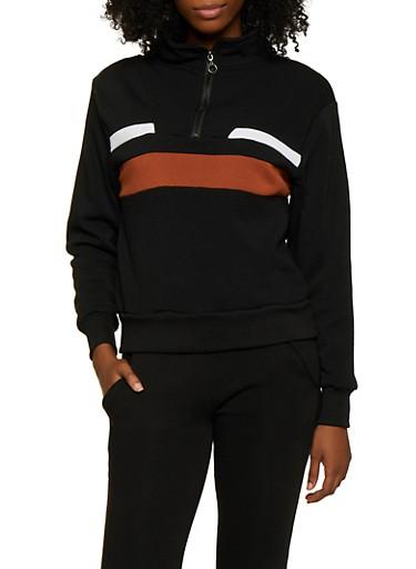 Pullover Half Zip Sweatshirt,BLACK,large