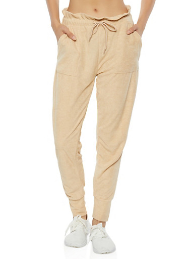 Solid French Terry Paper Bag Waist Joggers