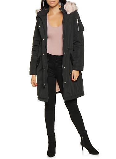 Faux Fur Lined Anorak Jacket,BLACK,large