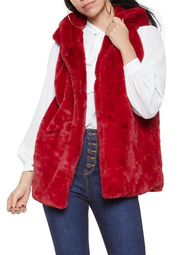 Faux Fur Hooded Vest,WINE,large