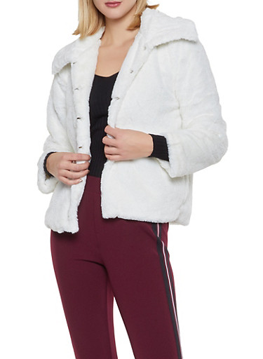 Faux Fur Collared Jacket,WHITE,large